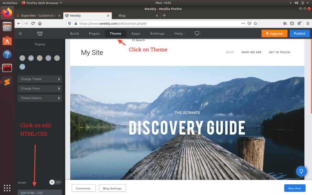 Edit theme html in weebly