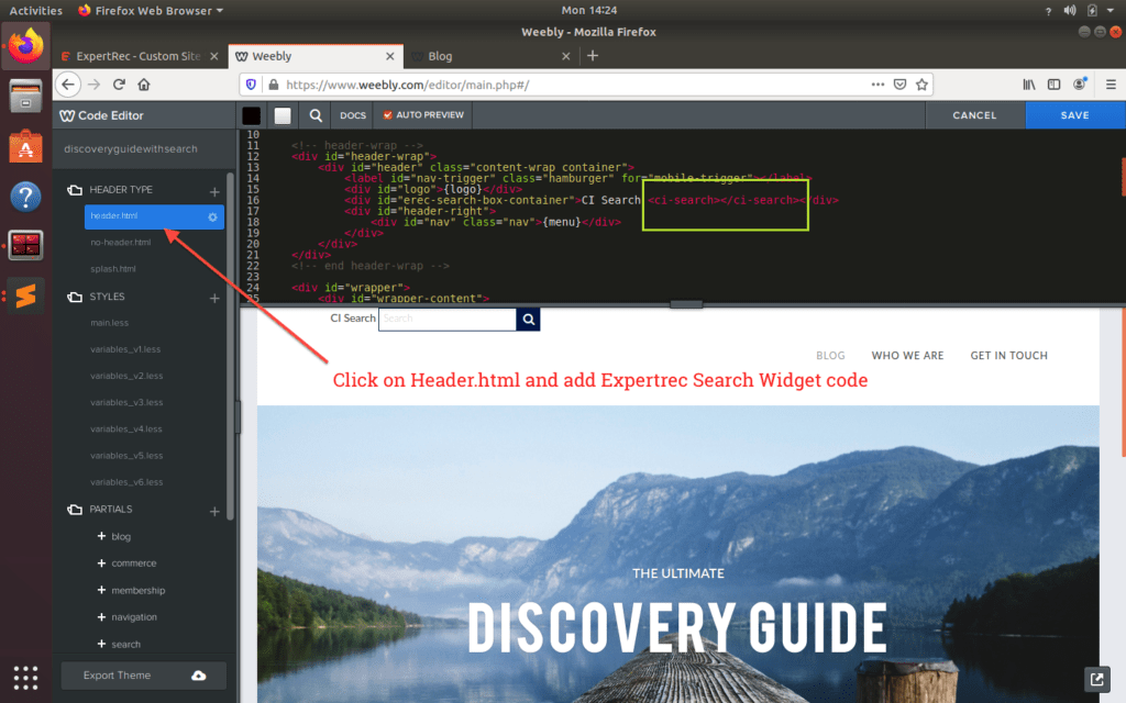 add expertrec search box to weebly website header