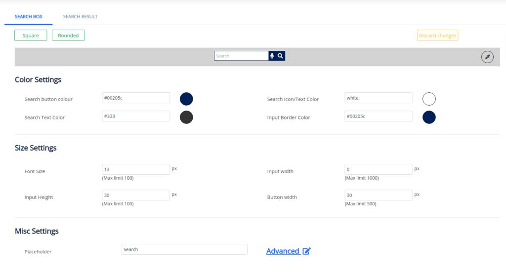 custom search UI
