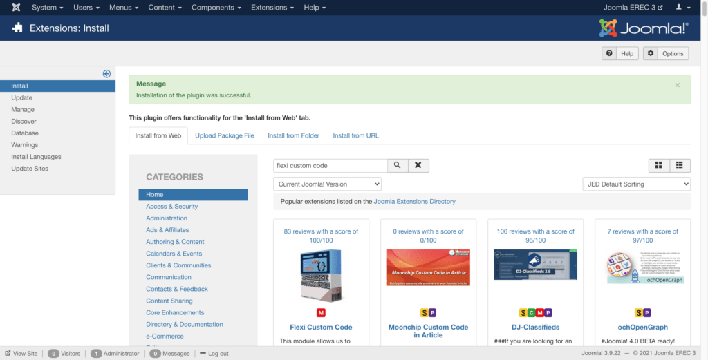 """""""Install From Web"""" feature in Joomla website"""
