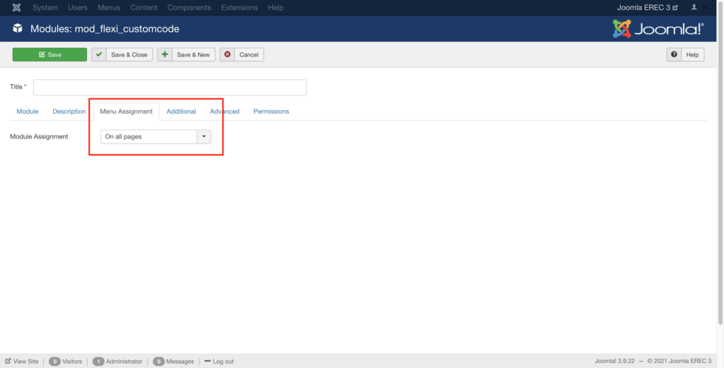 add Expertrec Search embed code to Joomla Menu assignment