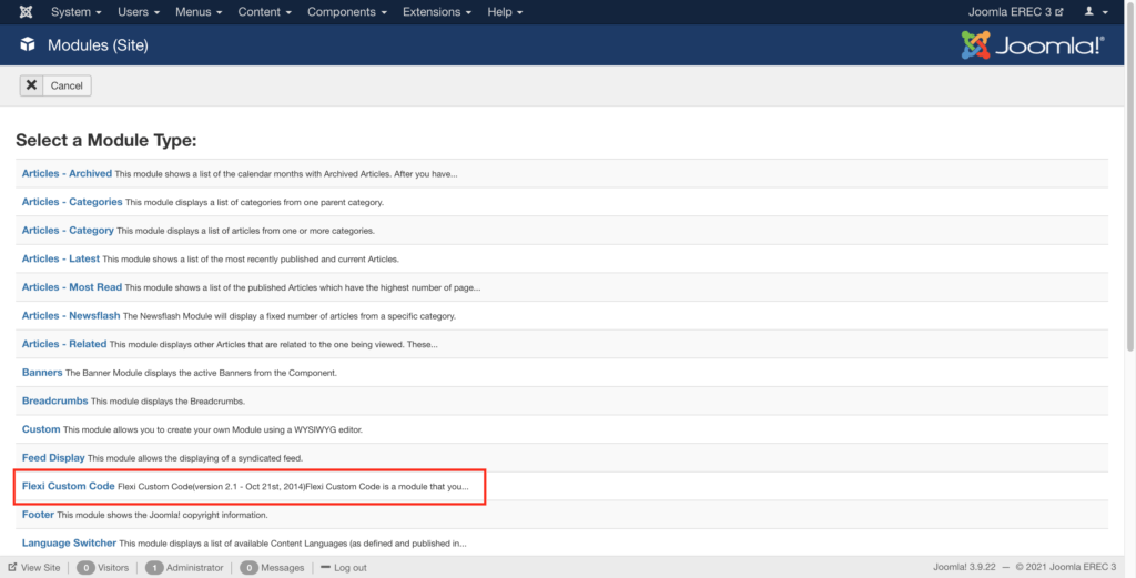 Create New module and select flexi custom code to add ExpertRec site Search for Joomla website