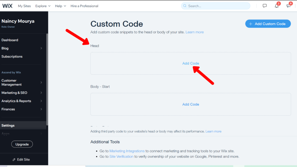 Add Custom Code in Wix to get Wix search bar