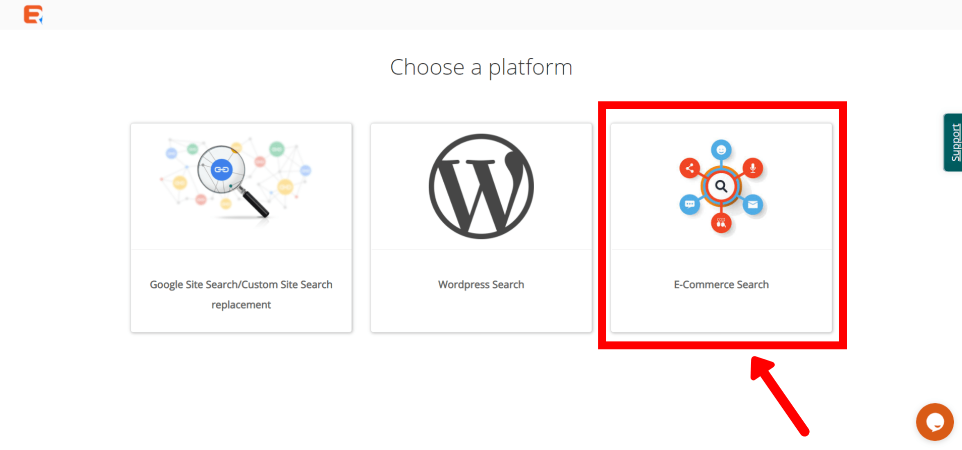 Choose E-Commerce Search to add Wix search bar in Wix store
