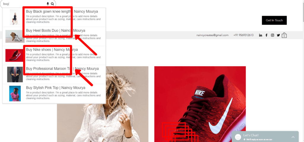 Type buy in Expertrec custom Wix search bar to see the results