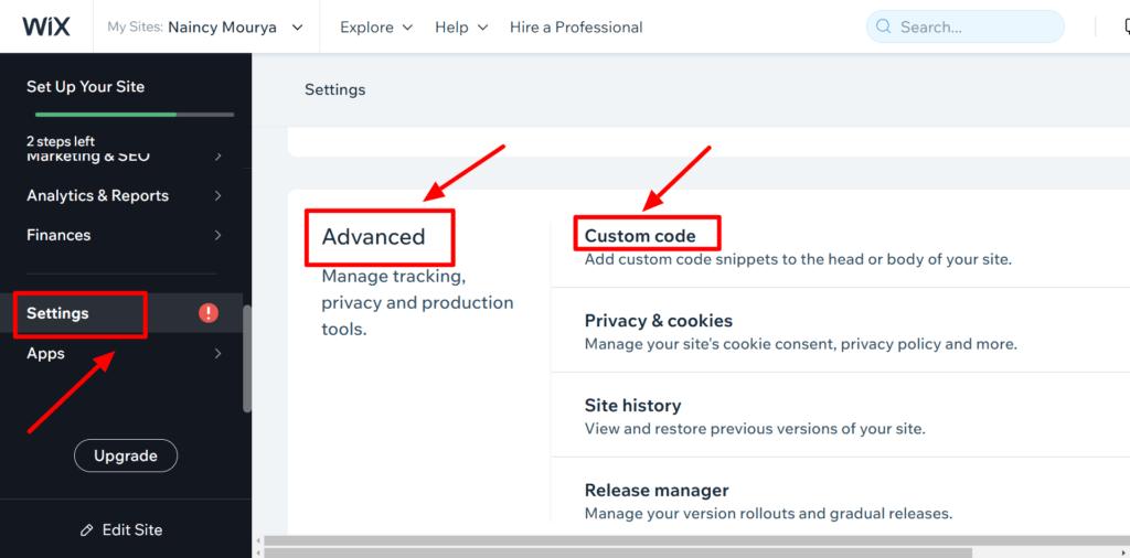 Selected custom code sub-section in Advanced option of Settings menu