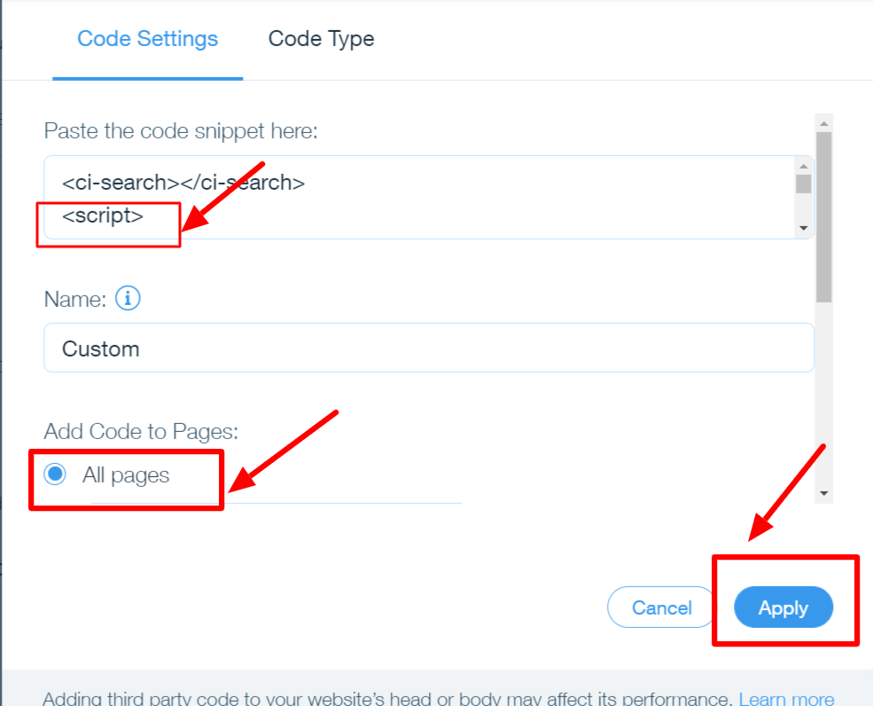 Paste the code to access Wix filter search in your website.
