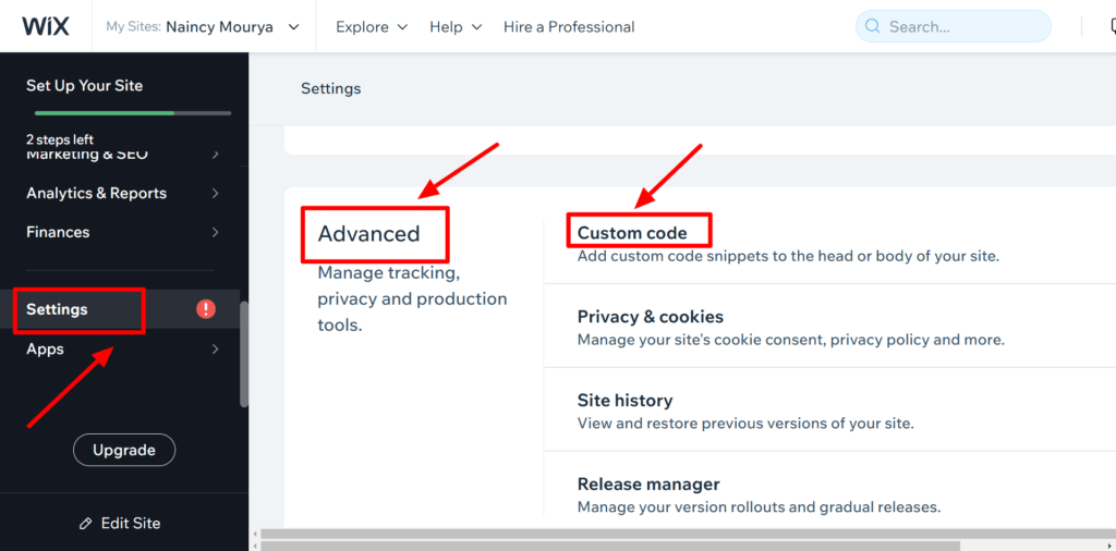 Open Custom Code Settings from Wix Settings Advanced Section
