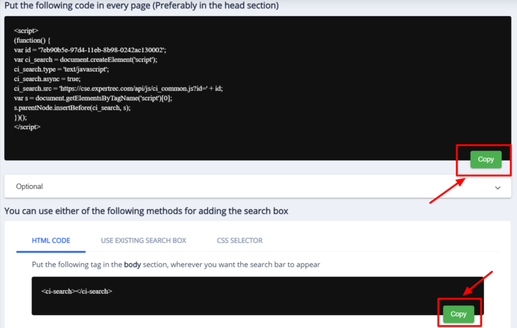 Copy the code from Expertrec dashboard to get wix filter search for your site