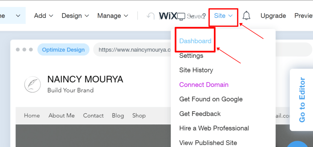 Steps to open Wix Dashboard from Site menu in Wix ADI