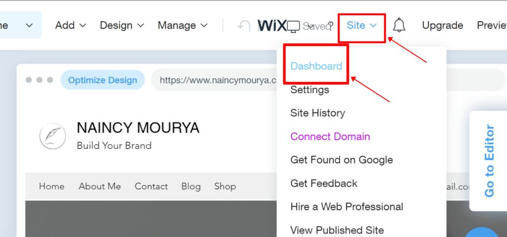 Open Wix dashboard in Wix ADI