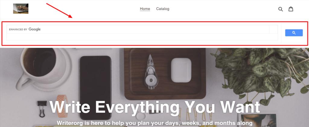 Shopify search bar code using Google custom search engine